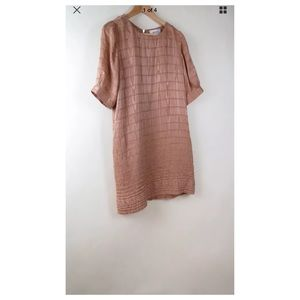 Anthropologie Ruffian rose pink nude silk dress